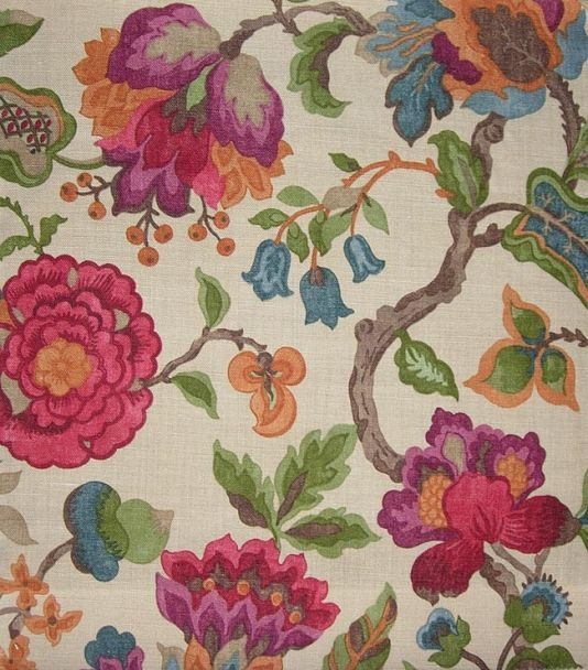 Amanpuri Linen Fabric Floral Upholstery Fabric Vintage Floral Fabric Floral Print Upholstery