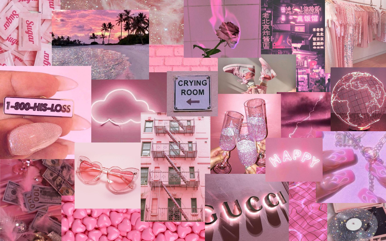 Pink Aesthetic Collage Desktop Pink Wallpaper Laptop Pink Wallpaper Iphone Aesthetic Desktop Wallpaper