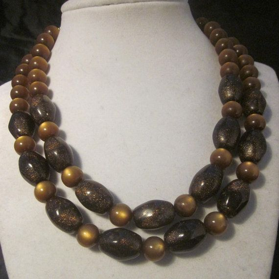 Vintage Double Strand Necklace Gold /& Brown Beaded Necklace Unsigned