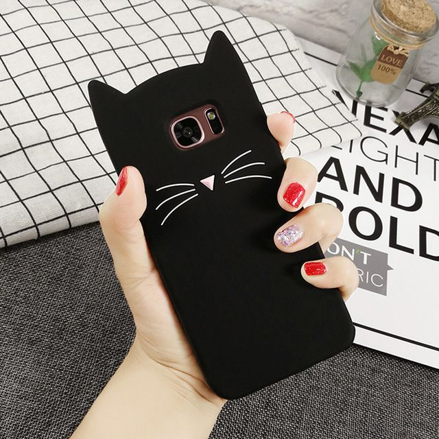 Custodie S5 New Cute Smile Glitter Bearded Cat Case Cover IPhone 5