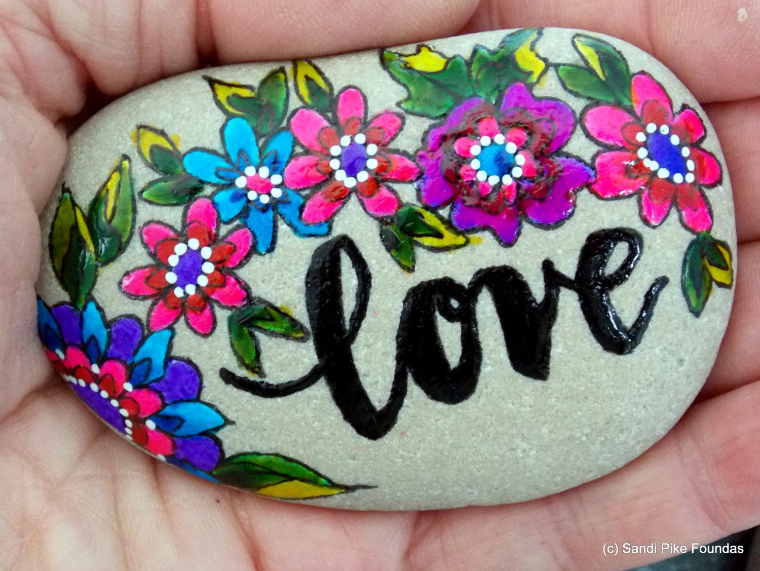 Love in the garden painted stones painted rocks paperweights
