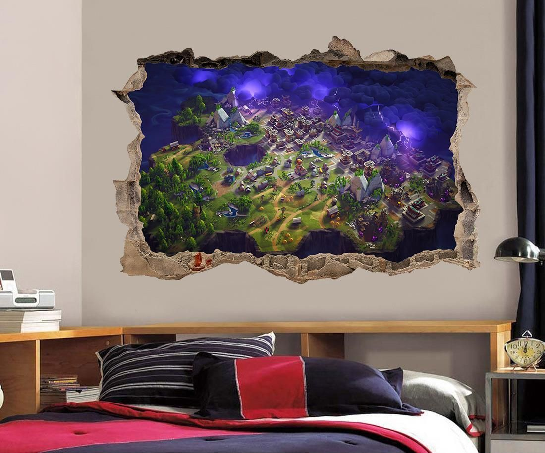 899 fortnite 3d smashed wall sticker decal home decor