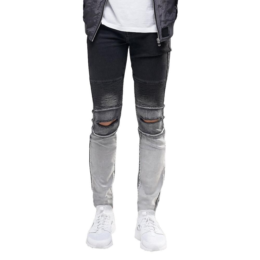 05ce2a54ec1 Ripped Knee Men Jeans Fashion Hip Hop Urban Men Motorcycle Distressing  Biker Slim Skinny Jeans eT0268