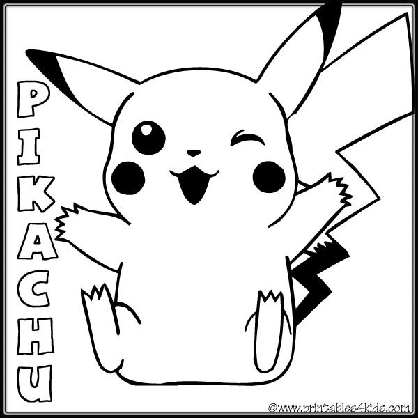 Pokemon pickachu smiling coloring page : Printables for