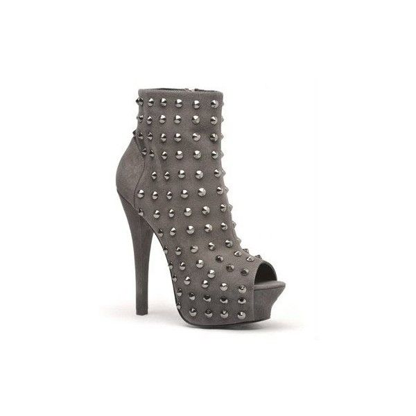 Rock & Republic Gabriel Platform Bootie - grey kid suede ❤ liked on Polyvore featuring heels, shoes and boots