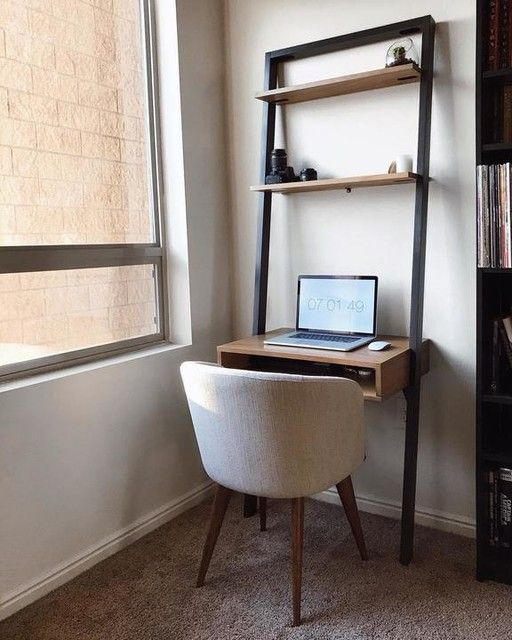 Ladder Shelf Desk In 2020 Desks For Small Spaces Home Office Design Desk Shelves