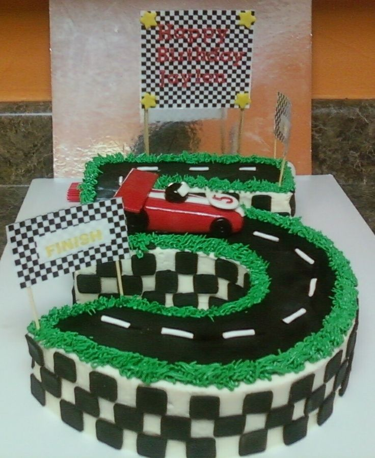 This cake was made for a little boy birthday that love race cars and