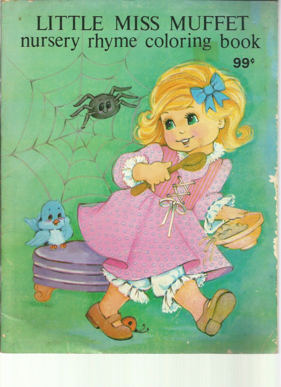 Vintage Little Miss Muffet Nursery Rhyme Coloring Book