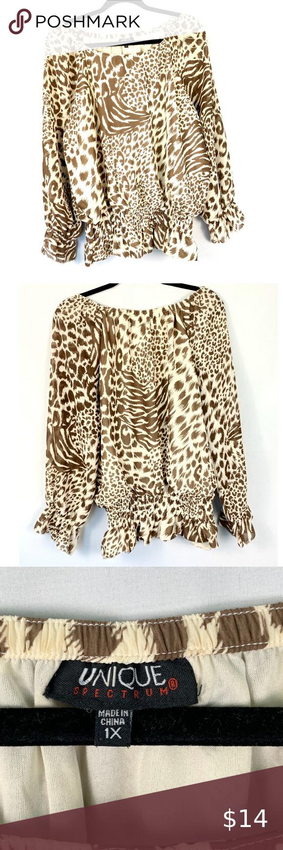Animal print leopard print blouse size 1X
