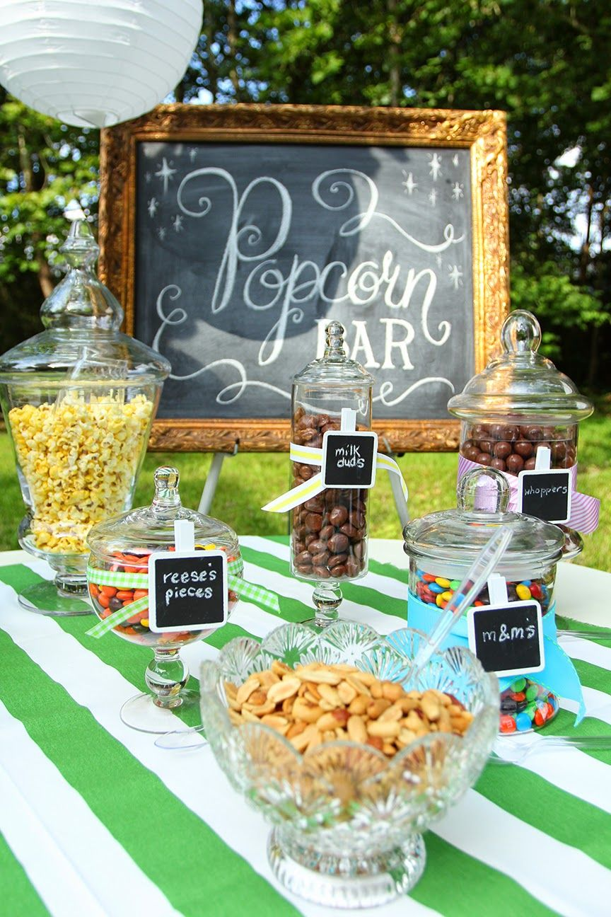 Popcorn bar for an outdoor movie party | Outdoor movie ...