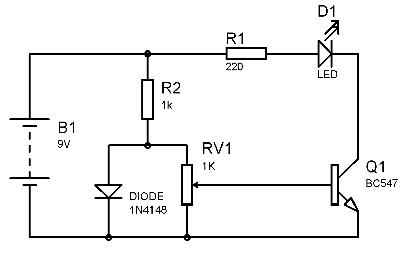 temperature detector using transistor circuit diagram in