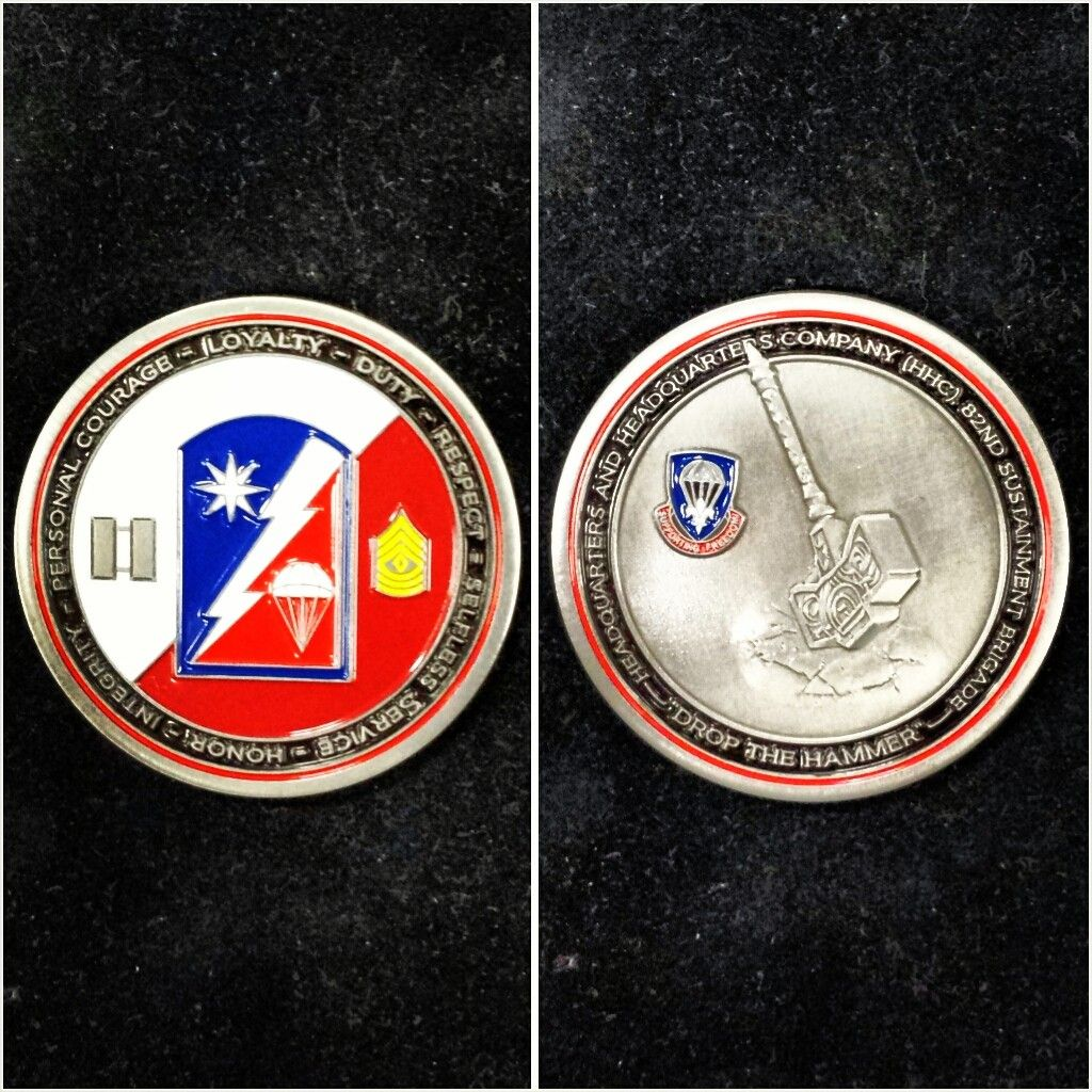 A Challenge Coin For The 82nd Sustainment Brigade Who Provide Logistical Support To The 82nd Airborne Div Challenge Coins 82nd Airborne Division Vehicle Logos