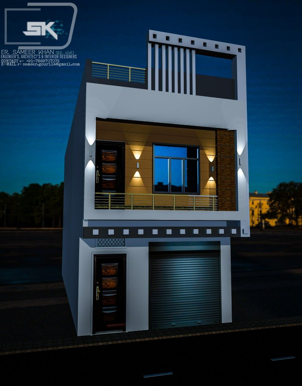House Front Design House Design Front Elevation Designs: Introducing Modern House Exterior Elevation With Shop. Indian House In 15 Feet Front