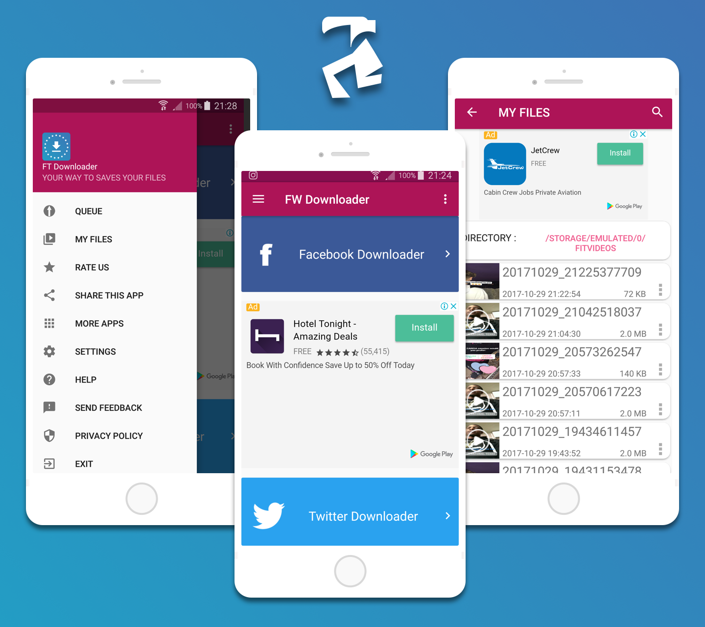 Facebook Twitter Downloader With Admob , Facebook Network ADS and