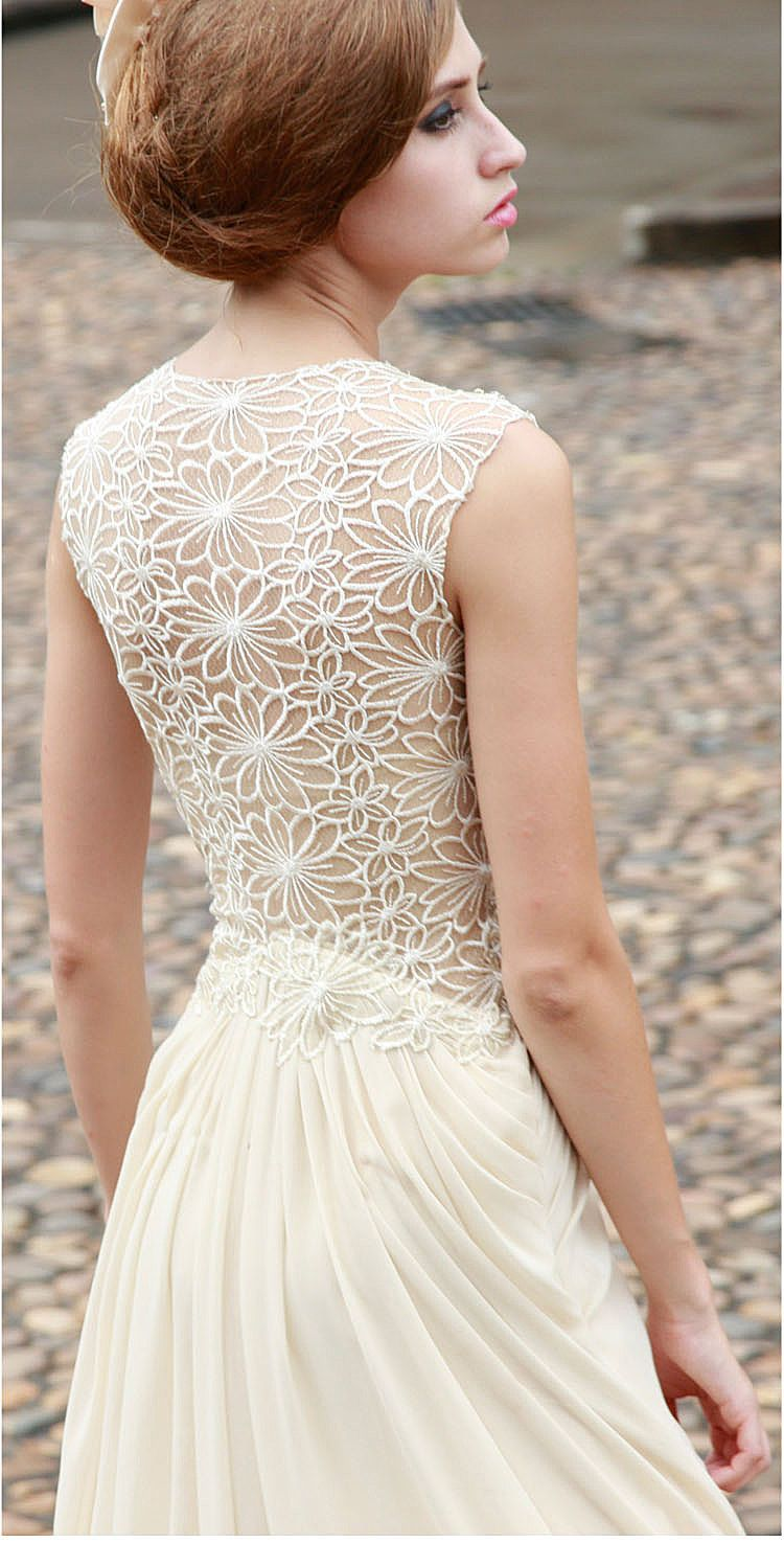 Cream lace rhinestone and sequin chiffon gown pinterest evening
