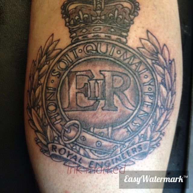 Royal engineers calf tattoo ink marked tattoos for Combat engineer tattoo