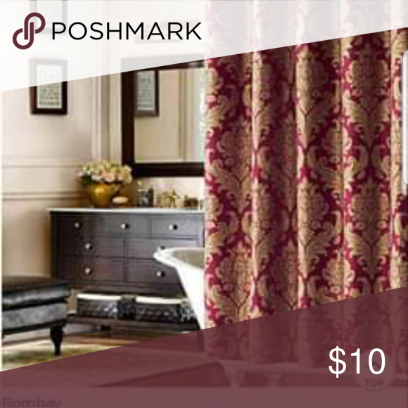 Gold And Burgundy Shower Curtain Bombay Pavanne 72 X72 Shower