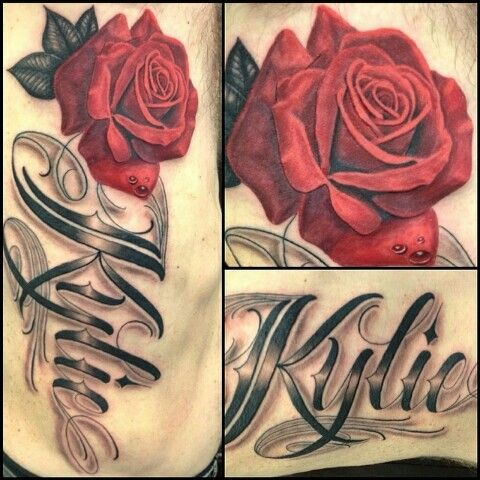 Name Kylie With Rose Rose Tattoo With Name Rose Tattoos Name Tattoos