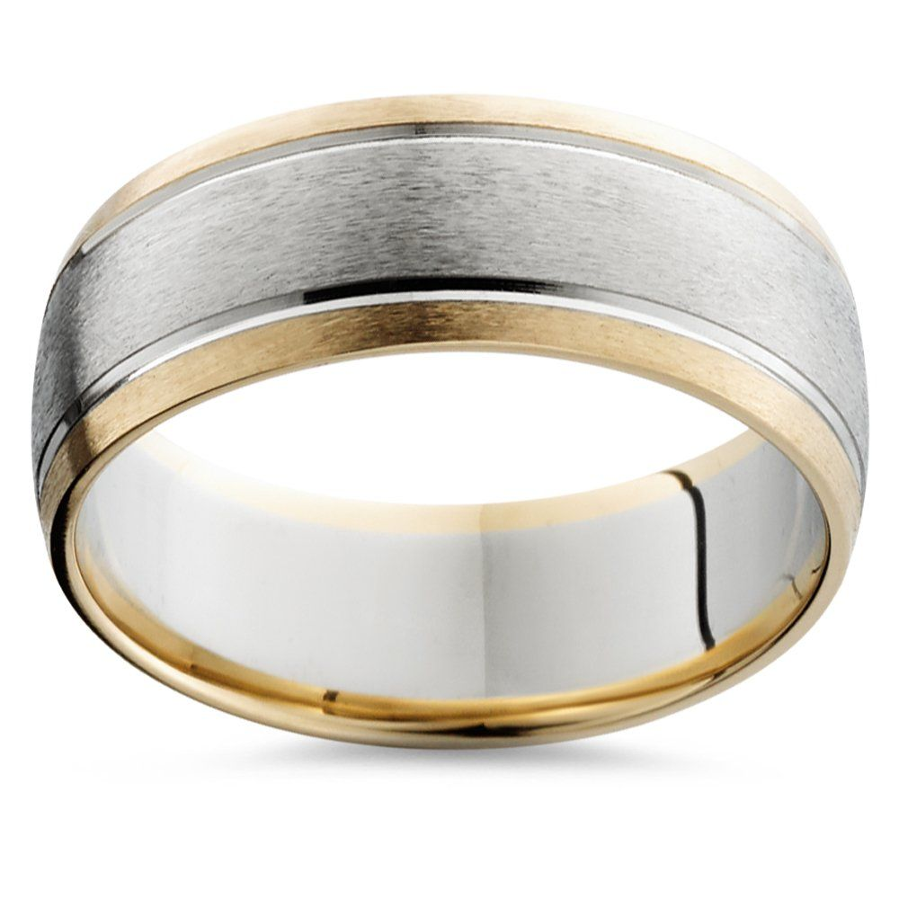 Mens Gold 8mm Two Tone Comfort Fit Wedding Band Ring This Classic Mens Two Tone Wedding Band Feat Rings For Men Round Diamond Wedding Rings Wedding Ring Bands