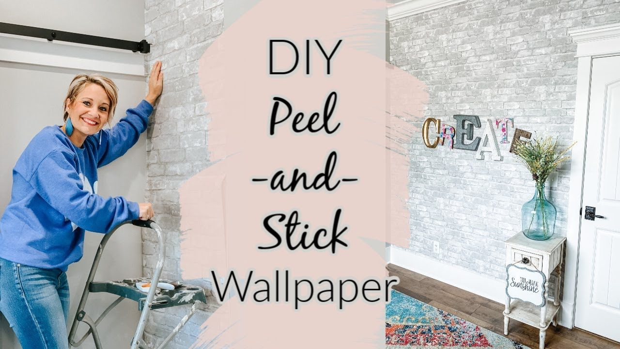 Diy Peel And Stick Wallpaper In My Office Youtube In 2020 Peel And Stick Wallpaper Wallpaper Diy