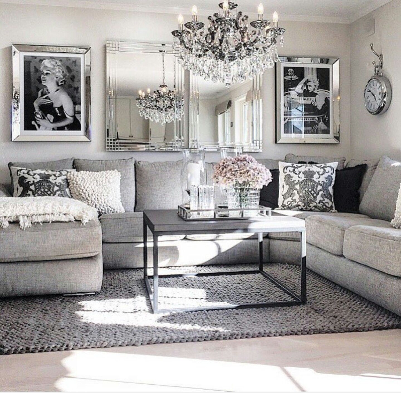 Grey Decor Glam Living Room Living Room Grey House Interior