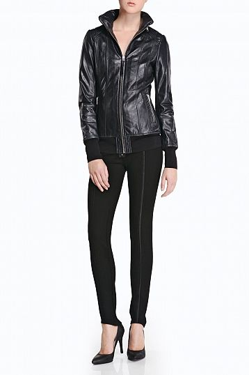 #Mackage Magali leather bomber jacket in Ink