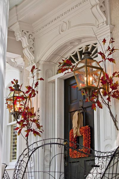 Classic Front Door Decorated For Autumn   Crisp Orange And Yellow Leaves  And A Beautiful Square Floral Wreath. Classic, Timeless, Traditional:  Decorate Your ...