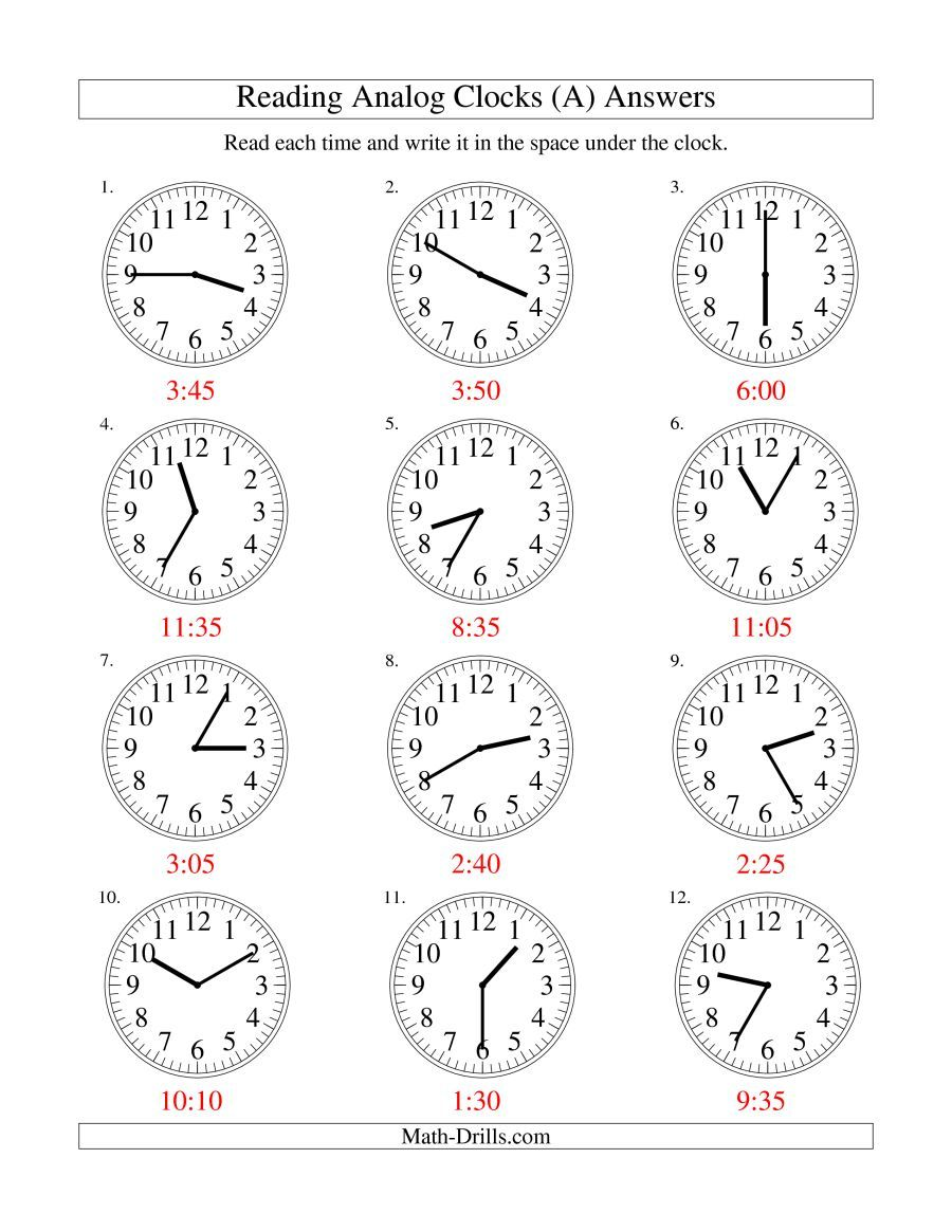 The Reading Time On An Analog Clock In 5 Minute Intervals A Math Worksheet Page 2 Time Worksheets Clock Kindergarten Worksheets Printable [ 1165 x 900 Pixel ]