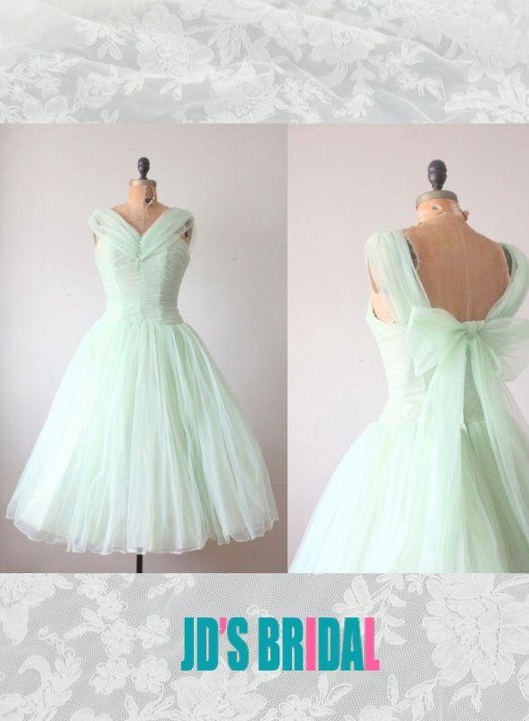 pastel green mint color tea length vintage party prom dress   Prom ...