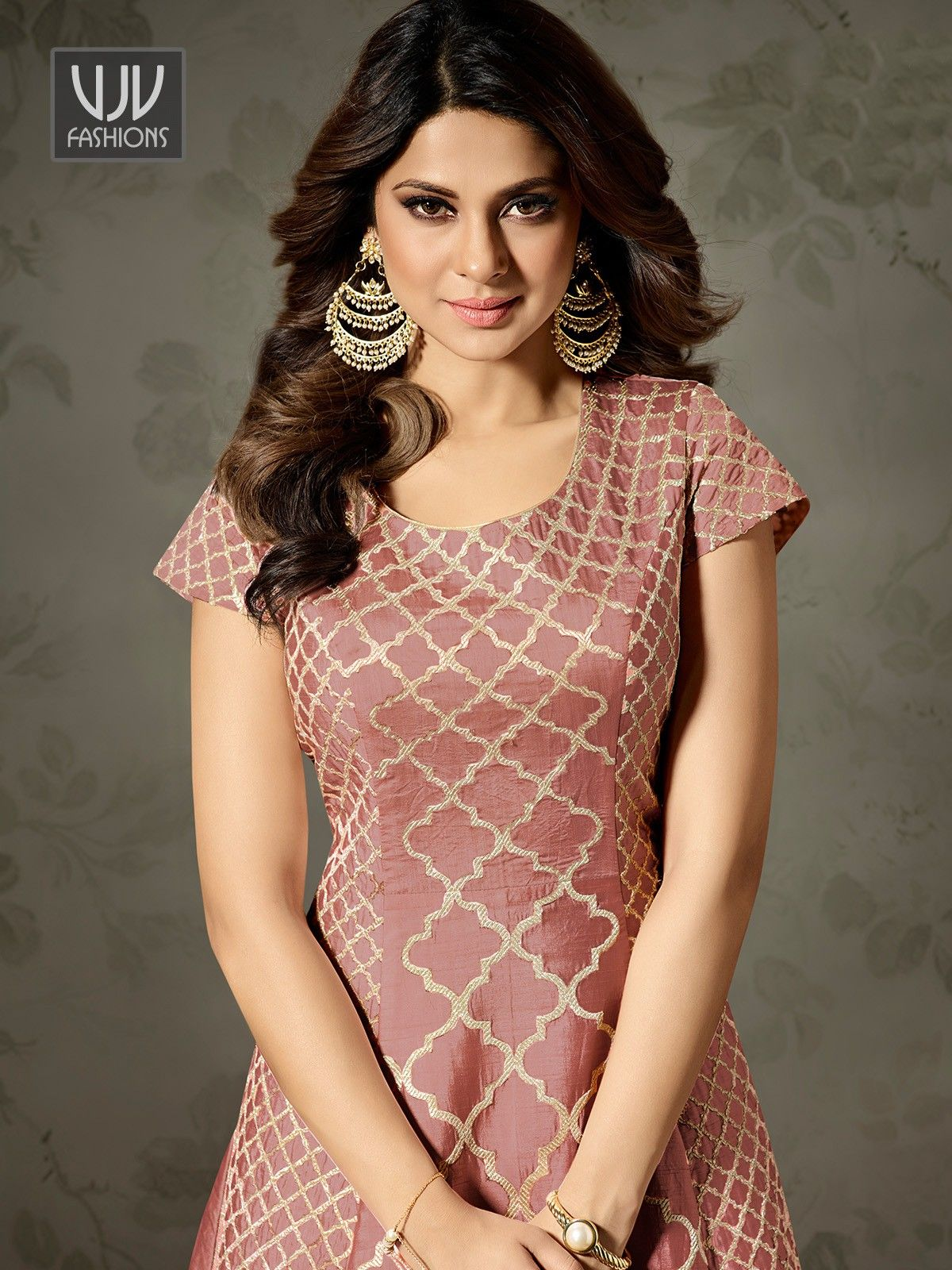 Jennifer Winget Pink Color Silk Designer Anarkali Suit ...