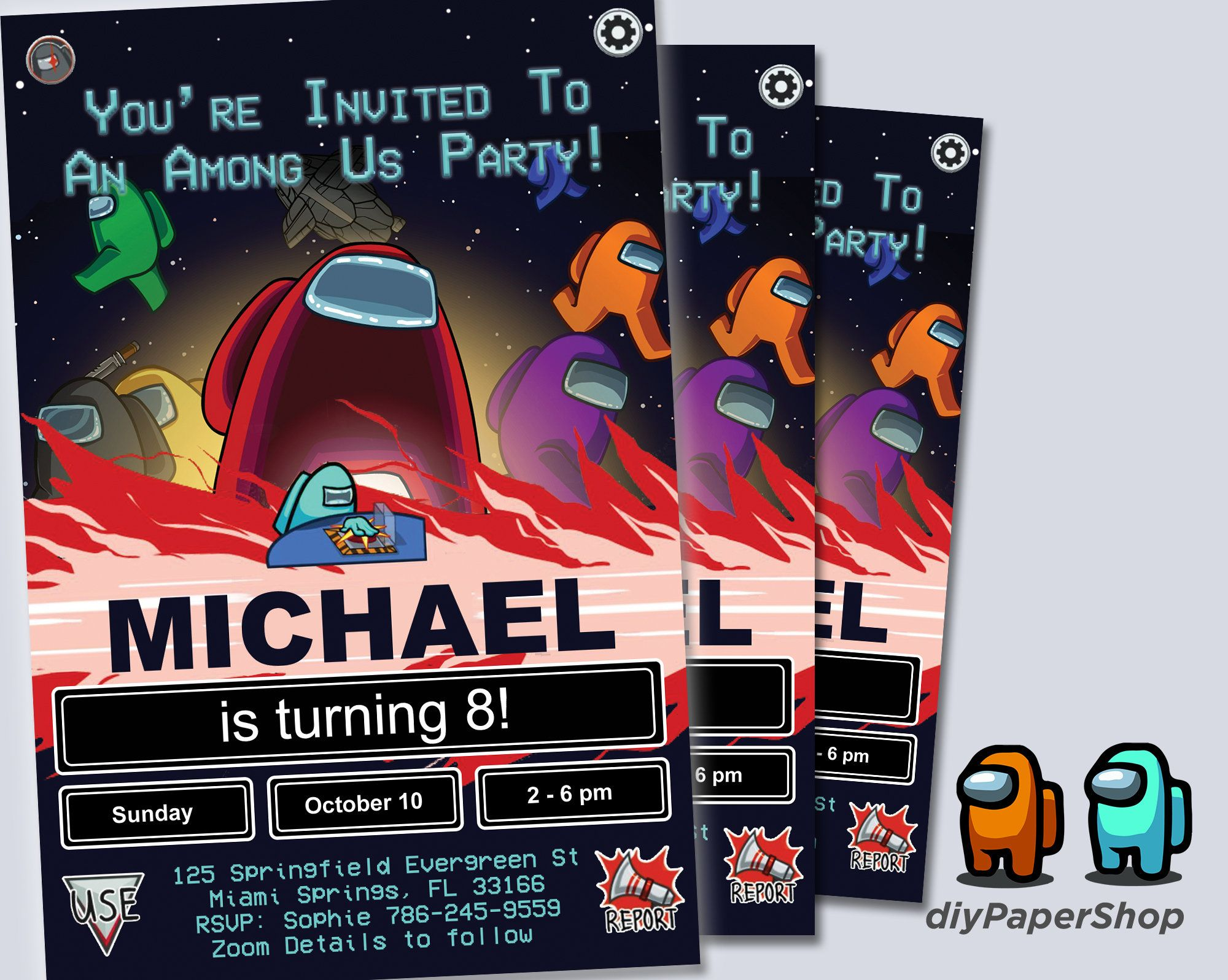 Among Us Birthday Invitation Gamer Party Invite Among Us Etsy In 2020 Birthday Invitations Birthday Games Party Games