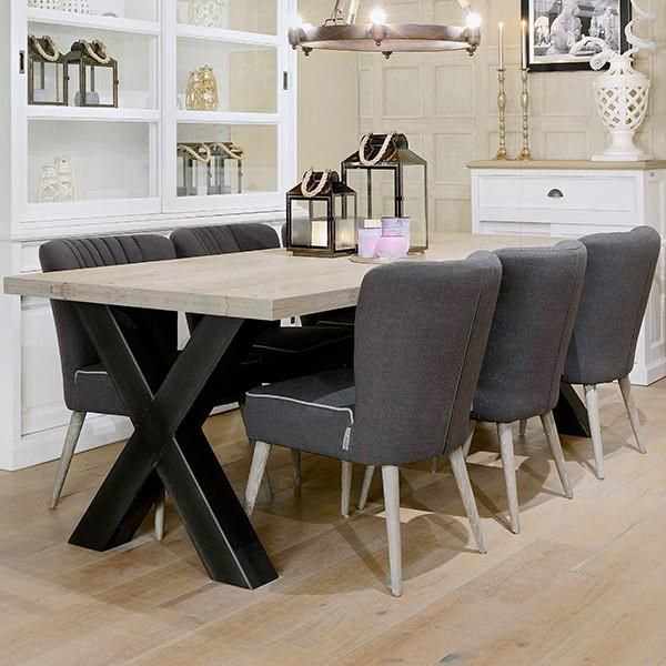 Hoxton Industrial Cross Leg Oak Dining Table  Oak Dining Table Extraordinary Oak Dining Room Furniture Decorating Design