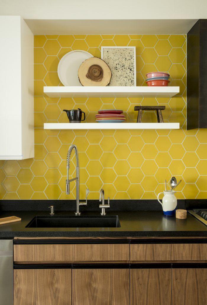 Www Fireclaytile Com Gallery Detail Bright Honeycomb Tile Kitchen Honeycomb Tiles Kitchen Yellow Kitchen Tiles Hexagon Tile Backsplash Kitchen