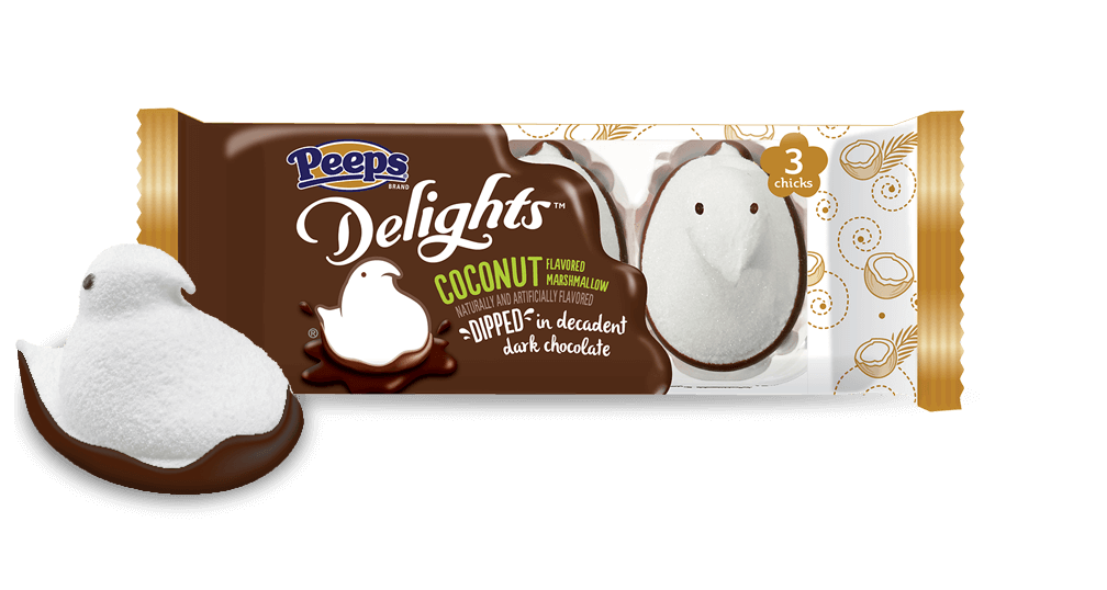 Coconut Delights #flavoredmarshmallows Coconut Flavored Marshmallow PEEPS Delights blend the taste of fresh coconut, fluffy marshmallow and rich dark chocolate. #flavoredmarshmallows