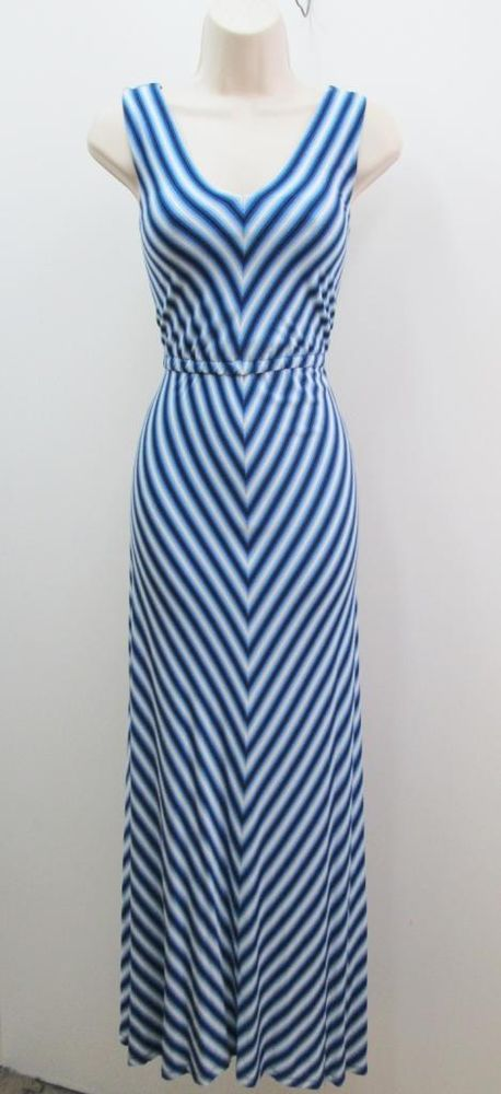 Calvin Klein Blue Diagnal Striped Stretch Jersey Long Maxi Casual Dress NEW PLUS #CalvinKlein #MaxiDress