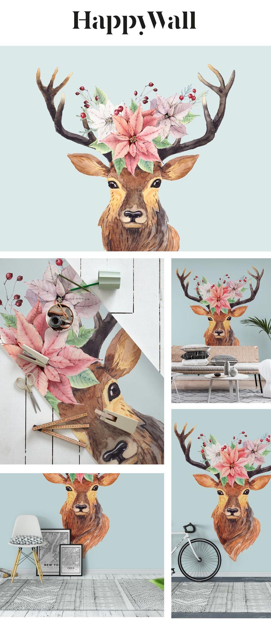 Winter Deer Wall mural Deer wall mural, Deer wall, Deer