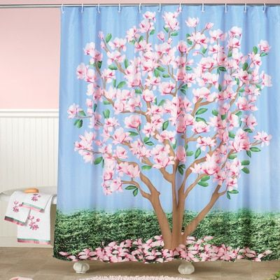 12 Collections Magnolia Flower Tree Shower Curtain Bathroom