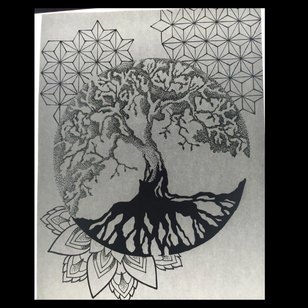 Árbol de la vida dotwork con geometría y mandala. Anna Itaca en ...