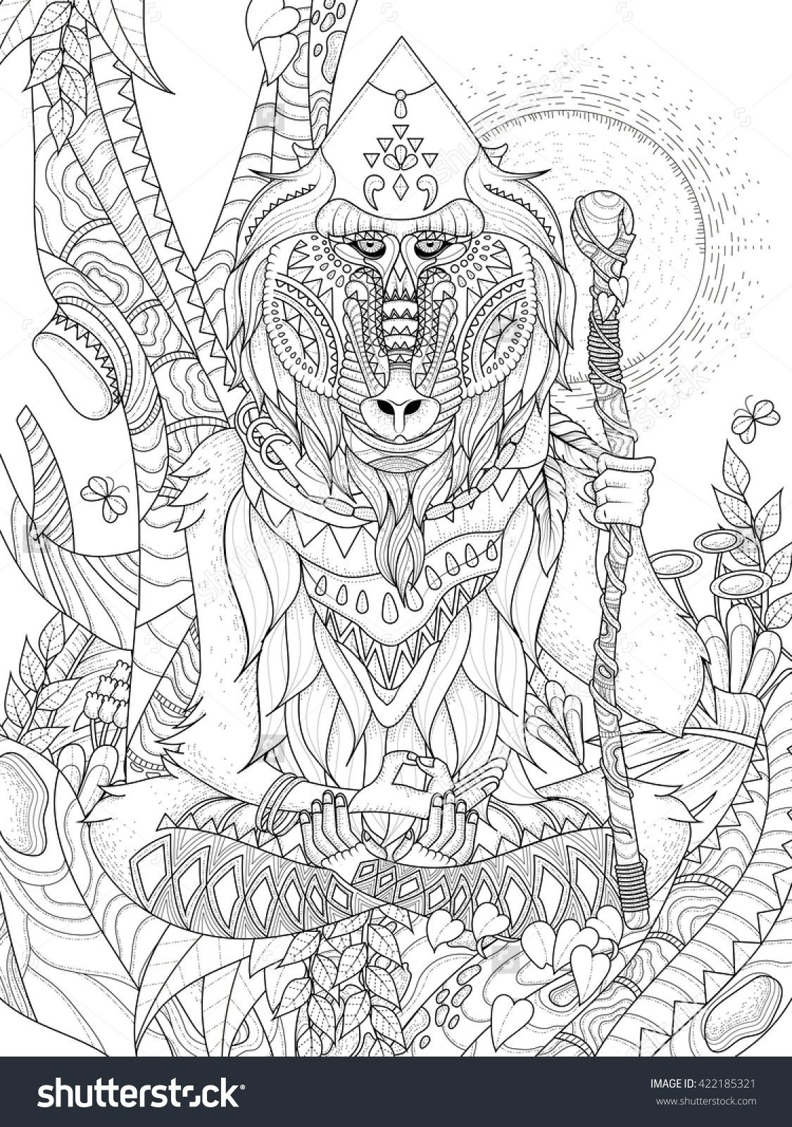 Wisdom elder baboon crossed legged in tree adult coloring page