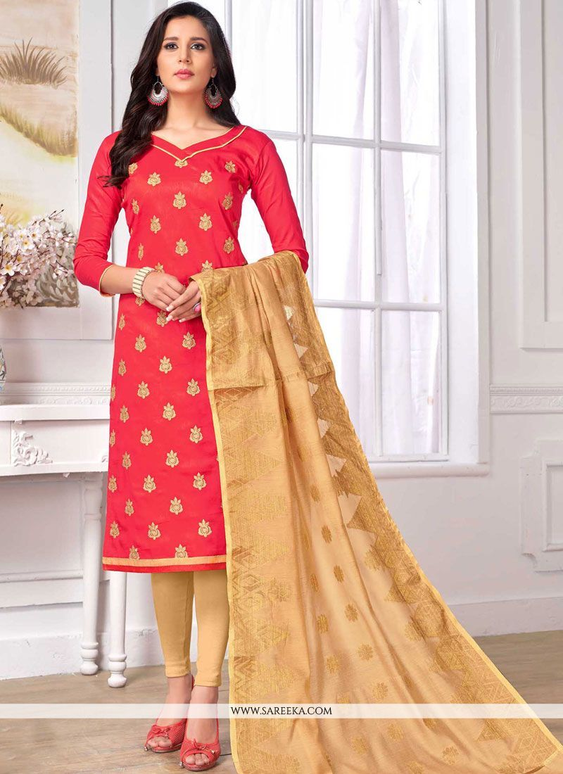 eede280c9e An outstanding pink cotton churidar designer suit will make you look very  stylish and graceful. This gorgeous dress is displaying some superb  embroidery ...