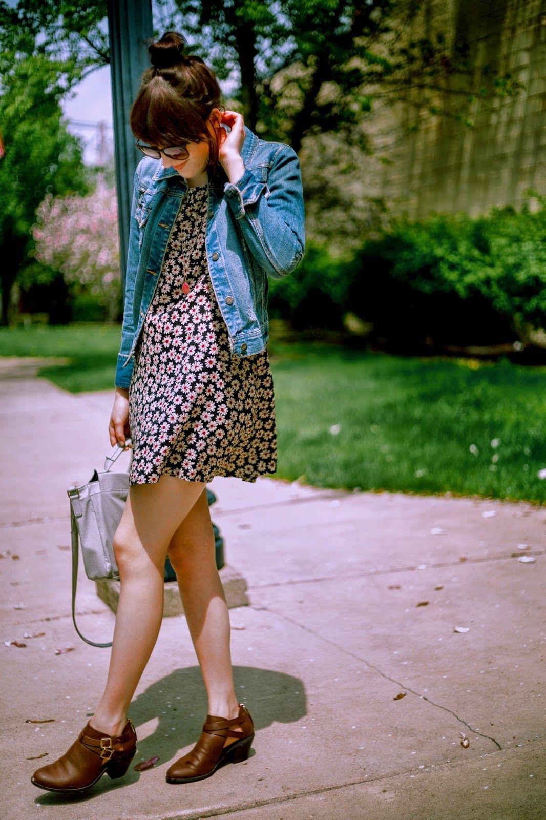 vintage dress + denim + mini boots