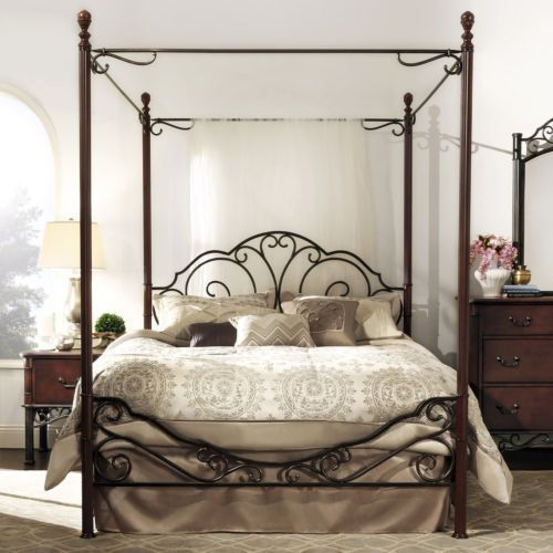 Queen Sized Metal Canopy Wrought Iron Bed Beds Frame Frame Bedroom Furniture Set Metal Canopy Bed Iron Canopy Bed Canopy Bed Frame