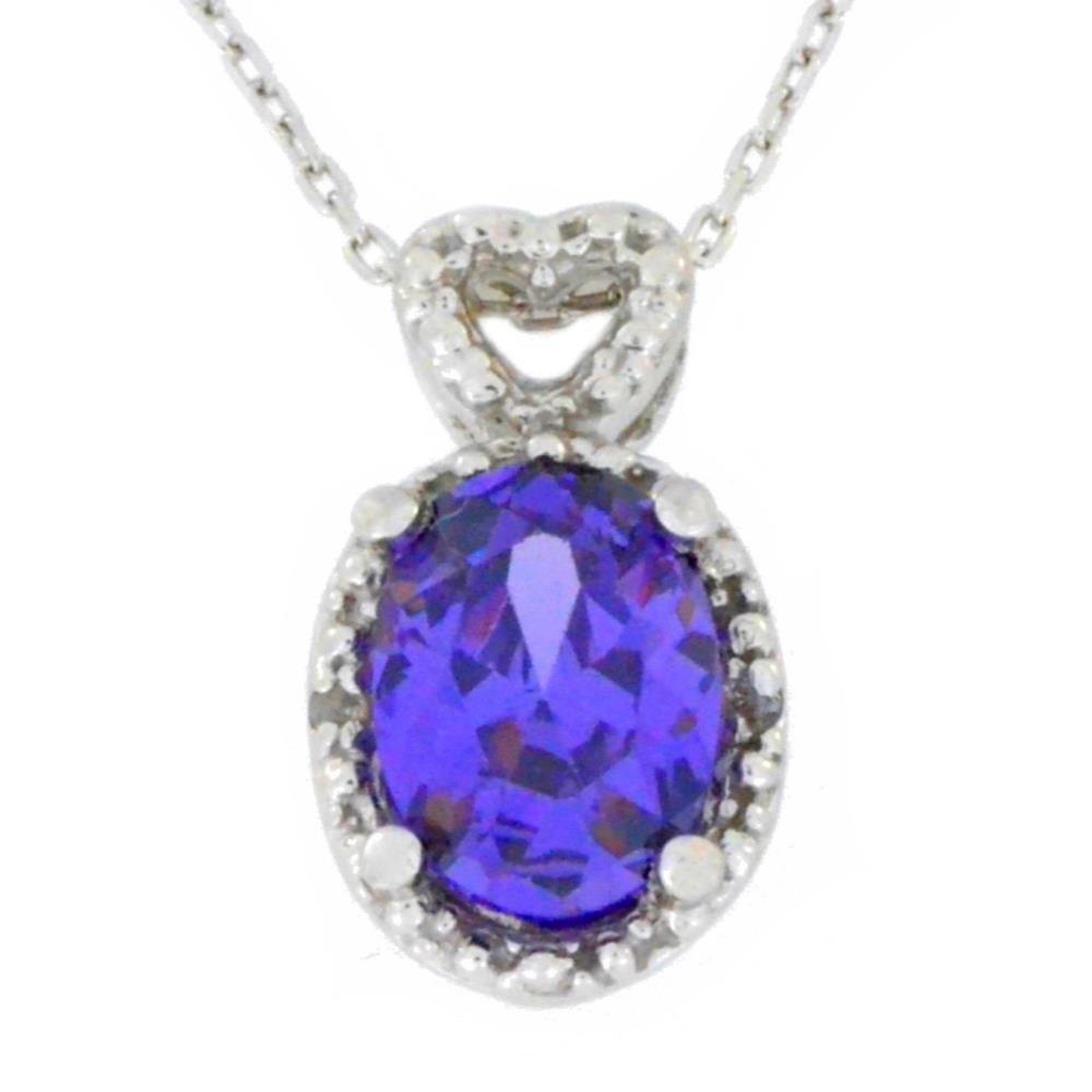 1.5 Ct Amethyst & Diamond Oval Heart Pendant .925 Sterling Silver Rhodium Finish