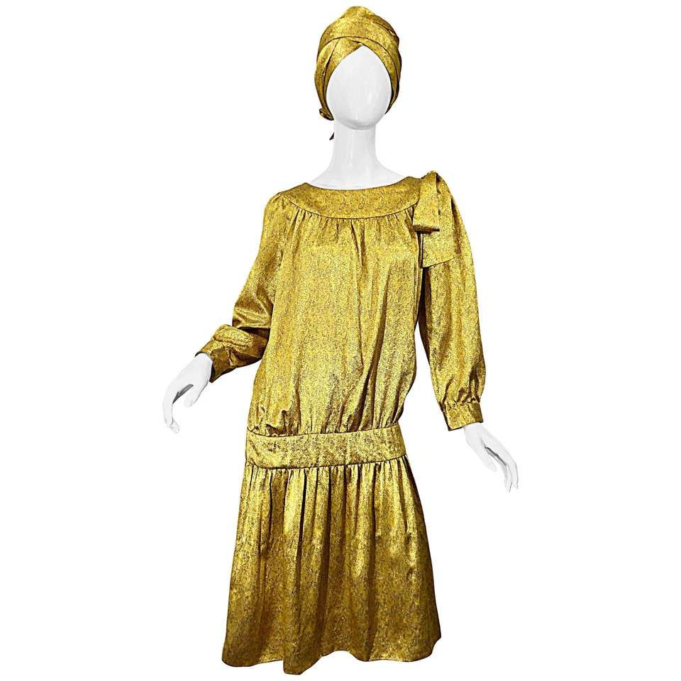 54339b6b731d Vintage Brioni Yellow + Gold Silk 1920s Style Drop Waist Dress + Turban  Sash For Sale