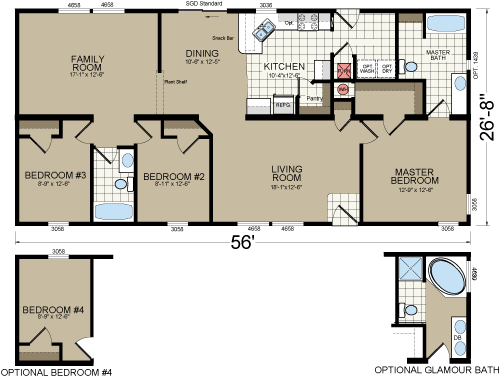 Craftsman 4563F 	3 Bedrooms 	1494 Square Feet Multi-Section 	2 Bathrooms.. Champion- Zieglar Woodland