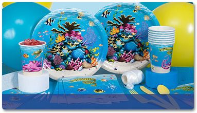 """Pin our under the sea party theme products.  Sebastian says """"Life is the Bubbles!"""""""