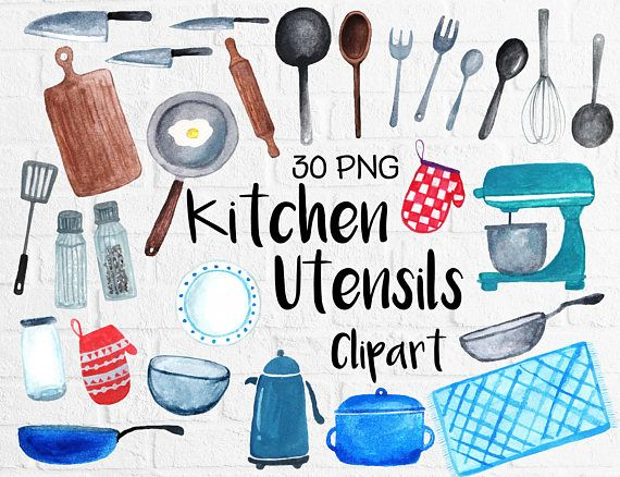 Watercolor Kitchen Utensils Clipart, Baking Kitchen Tool