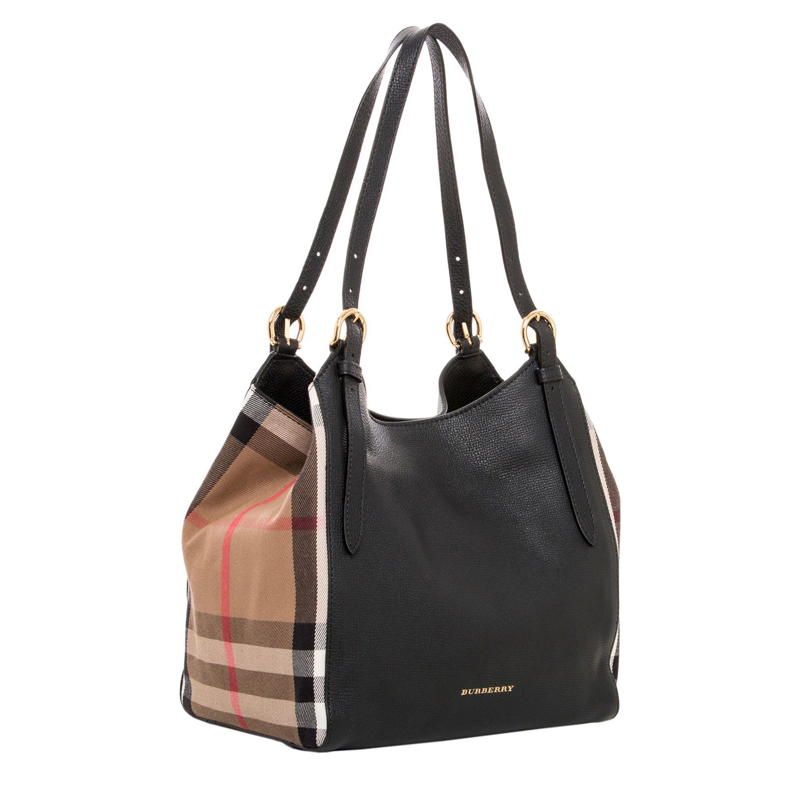 224b5bc73172 Burberry Women s Small Canter in and House Check Black Beige Burberry  Women