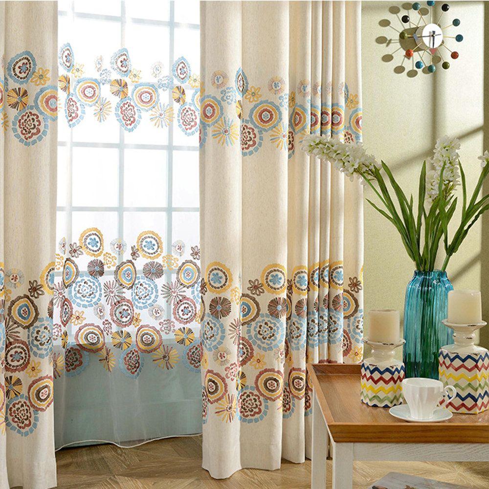 Landhaus Stil Gardine mit Blumen Stickerei aus Polyester