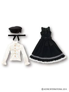 50cm+ELLEN`S+CLOSET+Jumper+Skirt+Set+(Black)+(Fashion+Doll)+Azone+International+50cm+Collection